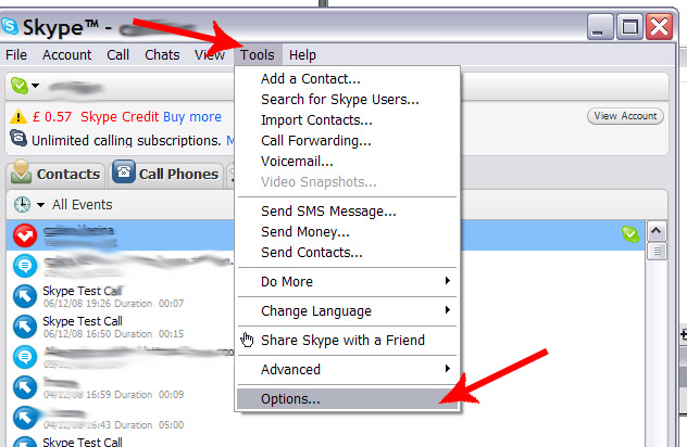 how to delete calls on skype