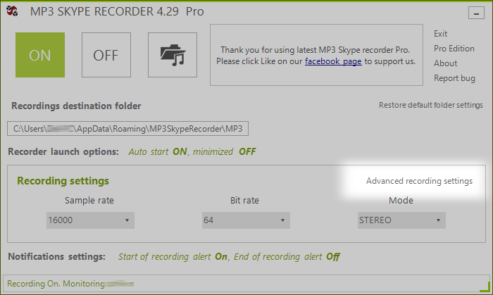 MP3 Skype recorder version 4.29 | Free Skype call recorder